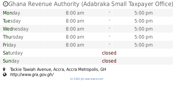 🕗 Ghana Revenue Authority (Adabraka Small Taxpayer Office